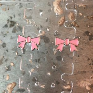 Marc Jacobs Pink Enamel Bow Stud Earrings